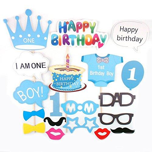 Veewon Baby 1. Geburtstagsfeier Fotorequisiten Foto Booth Stützen Baby Dusche Photobooth Stütze Set 19pcs Schnurrbart Auf Stick Geburtstagsfeier Dekor (Blau)