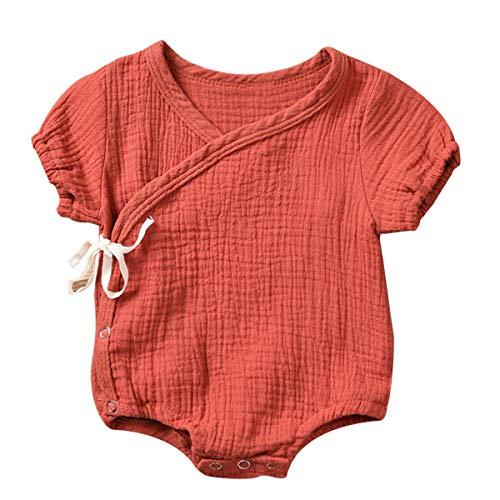 Haokaini Pasgeboren Baby Katoen Linnen Kimono Romper, Chinese Casual Pure Tracksuit pyjama voor Meisje Jongen