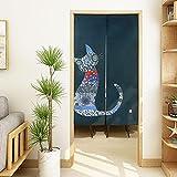 LIGICKY Noren - Cortina de Puerta Estilo japonés con diseño Floral Chino Tradicional para Puerta, diseño Bohemio, para decoración de habitación, 85 x 150 cm, Color Azul Marino
