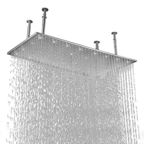 """Lovedima 20""""x40"""" Rectangle Rain Shower Head Stainless Steel Bathroom Showerhead Ceiling Mount (Without led, Brushed nickel)"""