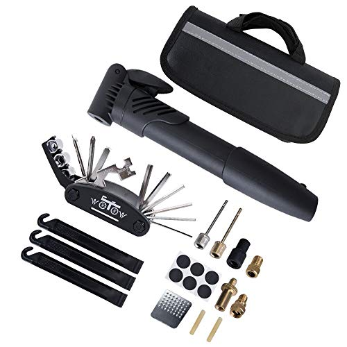 WOTOW Bike Tyre Repair Kit, Cycling Repair Tools with Mini Bicycle Pump & 16 in 1 Multi-Function Bike Repair Tool & Tyre Levers & Glueless Tube Patch & Portable Bike Bag Practical Tool Set (Black)