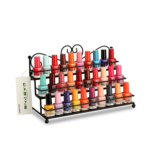 Dazone® Wandregal mit 3 Metall Ablagen für Nagellack oder ätherische Öle Nagellack zur Selbstmontage Aufbewahrung Display Regal (Schwarz)