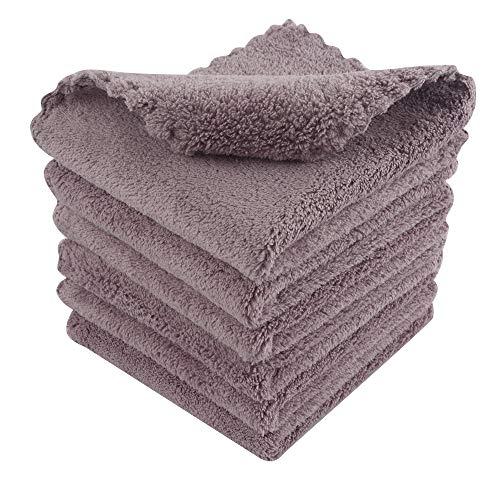 KinHwa Microfaser Make-up Entferner Tuch Waschbar Abschminktücher Ultraweich Waschlappen Gesicht Wiederverwendbar Violett