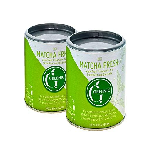 Superfood Matcha Fresh, Doppelpack. Trinkpulver-Mischung, 2 x 80 g von Greenic.