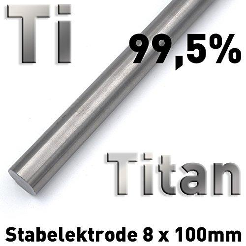 Rundstab aus reinem Titan ⌀8 x 100 mm, Metall Rundstange Materialprobe Ti Grade 1
