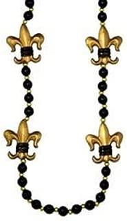 Mardi Gras, Black and Gold Fleur-de-lis Medallion Beads, Necklace, 42