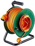 Perel EGCR50N2-G Avvolgicavo da Giardino, 50 m, 3G1.5, Schuko, 3200 W
