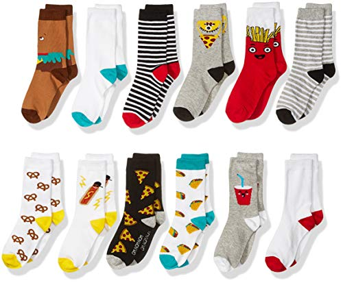 Amazon Brand - Spotted Zebra Kids Boys Crew Socks, 12-Pack Fast Food, Small