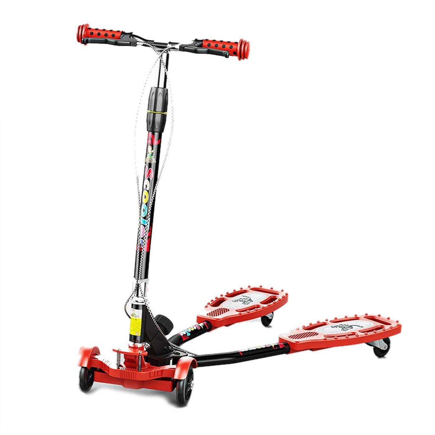 考え疲労海上子ども用自転車 子供の初心者用スクーター 子供の屋内用スクーター 屋内と屋外のキックスクーター 子供用車 カエルのはさみ 子供用スクーター 子供用旅行 (Color : Red, Size : 80cm*22cm*88cm)