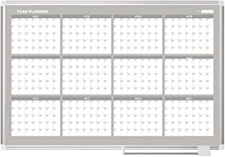 MasterVision Planning Board Magnetic Dry Erase 12 Month Calendar Board with Aluminum Frame, 36