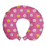 ABAKUHAUS Moderno Cojín de Viaje para Soporte de Cuello, Estilo Emoticon rostros sonrientes, Cómoda y Práctica Funda Removible Lavable, 30 cm x 30 cm, Hot Rosa Multicolor