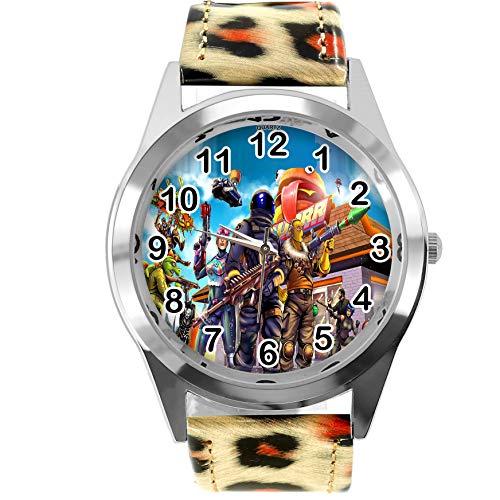 Reloj redondo de piel con estampado de leopardo FG2
