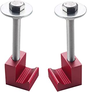 DEWHEL Premium Tool Box Tie Downs Aluminum J Hook Crossover Toolbox Pickup Truck Universal Fit (2 PCS, Red)