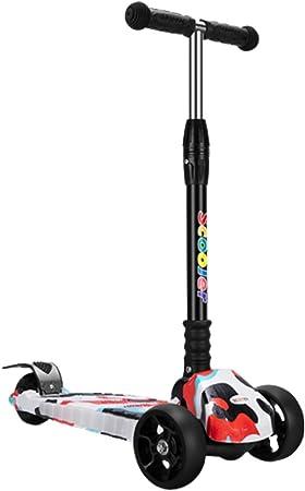 Patinete 4 Ruedas con LED Luces,Diseño Scooter Plegable para ...