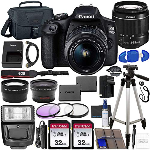 Canon EOS 2000D (Rebel T7) DSLR Camera with EF-S 18-55mm f/3.5-5.6 DC III Lens & Accessory Bundle – Includes: 2X 32GB SDHC Memory Card, Extended Life Battery, Case, Filters, Auxiliary Lenses & More