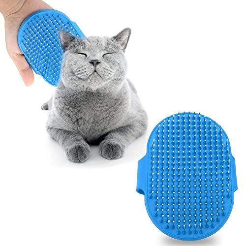 Siliconen Huisdier Borstel Huisdier Massage Bad Shampoo Borstel Honden Katten Schoonmaken Massage Kam Ronde Hoofd Tanden Verzorging Borstels voor Lange & Korte Haar, Blauw
