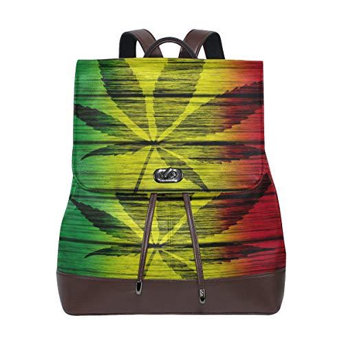 Ahomy - Mochila de piel para mujer, diseño de hojas de marihuana sobre madera, impermeable, antirrobo, mochila informal