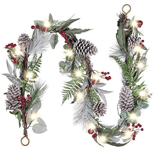 Valery Madelyn Weihnachtsgirlande 1.83M Künstliche Tannengirlande mit 20 LED Lichterkette batteriebetrieben mit Tannenzapfen und Beeren Weihnachten Girlande mit Timerfunktion für Kamin Weihnachtsdeko