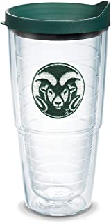 Tervis 1084929 Colorado State Rams Logo Tumbler with Emblem and Hunter Green Lid 24oz, Clear