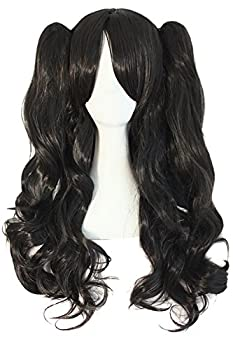 MapofBeauty 28 /70cm Lolita Long Curly Clip on Ponytails Cosplay Wig  Jet Black