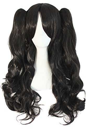 "MapofBeauty 28""/70cm Lolita Long Curly Clip on Ponytails Cosplay Wig (Jet Black)"
