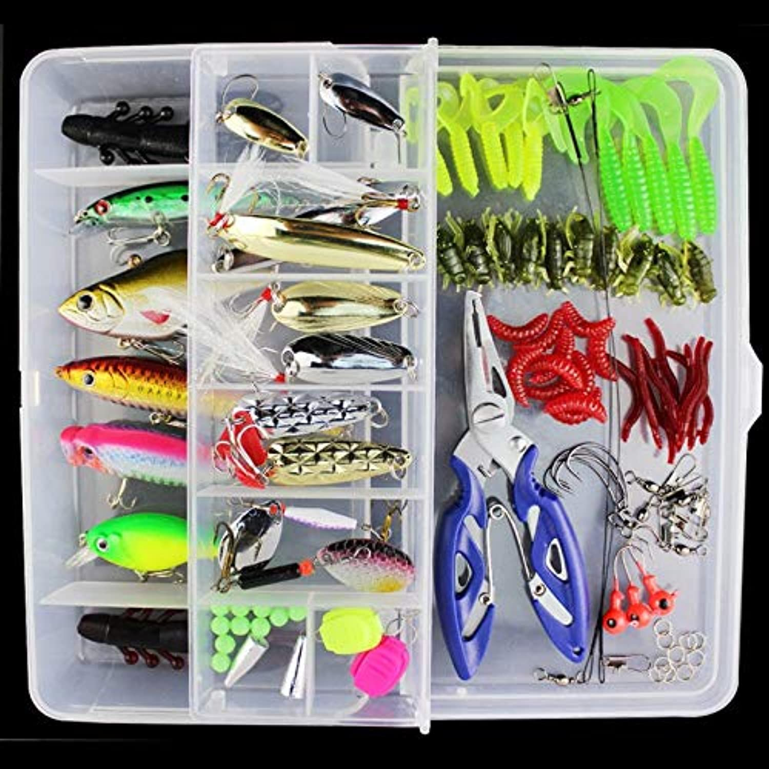 Generic 101pcs Lot Fishing Lures Random colors Crank Bait Hooks Minnow Bass Baits Tackle + Box Set Pesca Fishing Accessories