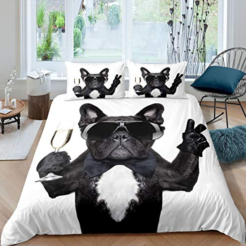 French Bulldog Bedding Set Funny Dog Printed Comforter Cover for Kids Boys Girls Teens Cute Pet Dog Duvet Cover 3D Animal Theme Hippie Puppy Bedspread Cover Room Decor Quilt Cover King Size