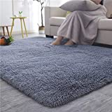 YOH Soft Sofa Area Rugs Girls Room Decor Fluffy Grey Rugs for Bedroom Living Room 4 x 5.3