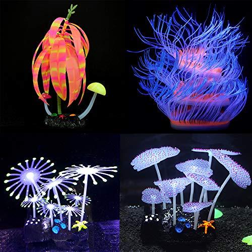 Amazing Pet Aquarium Fish Tank Decorations, Glowing Coral Ornaments for Fish Tank Decorations, with Glowing Mushroom Simulation Coral Plant 4 Pack