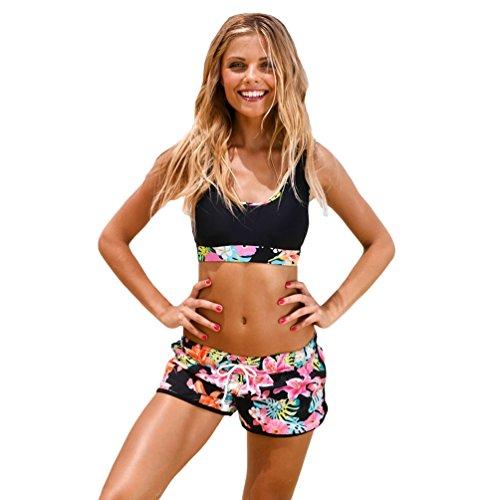 NiSeng Donna Due Pezzi Costumi da Bagno Stampa Fogliare Bikini Beachwear Elegante Costume da Bagn Bikini Spiaggia Estate 2# S