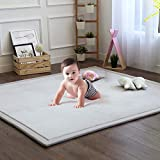 Baby Play Mat, Soft Play Rugs for Boys Girls Infant Baby Toddler Nursery, Thick Grey Rug for Living Room, Playroom, Classroom, Nursery and Dormitor Foam Mat Tatami Mat Exercise Mat 59 by 78 Inch