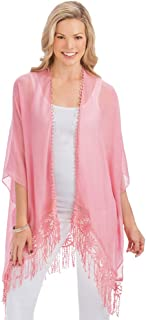Crochet Lace Open-Front Kimono with Fringe Trim and High Low Hem - Light Layering Piece for Warmer Weather