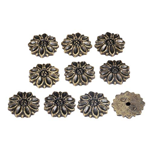 YUAN CHUANG 50 unids de aleación de Zinc Flor Protectora Decorativa Soporte de Esquina Adorno de Adorno Libro de Recuerdos Bombillas Tapicería Uñas Tallas Tabletas 23 * 5mm