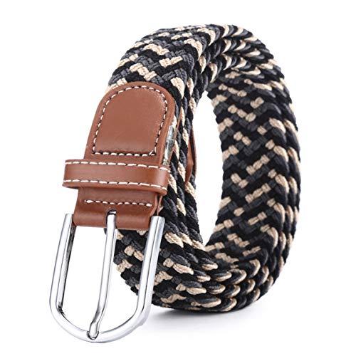 Rendeyuan Cinturón elástico Tejido elástico de Cuero Cinturón elástico para Hombres Nuevos Hombres Cinturón de cinturón de Hebilla de Metal elástico elástico Trenzado de Cuero - Caqui Gris Negro