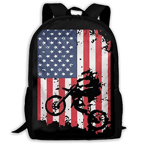 JimHappy School Backpack American Flag Motocross Dirtbike 3D Adult Outdoor Leisure Sports Backpack