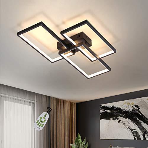 CBJKTX Deckenlampe LED Deckenleuchte dimmbar mit Fernbedienung 63W Schwarze Wohnzimmerlampe aus Metall Modern-Design für Schlafzimmer Esszimmer Wohnzimmer Arbeitszimmer Flur Büro