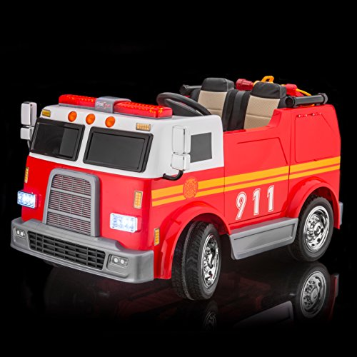 SUPERtrax Big Rig Emergency Kid's Ride On 4 Wheel Drive Firetruck Toy Car 12V - EVA Foam Rubber Tires, Remote Control, Leather Seat, Free MP3 Player - Red