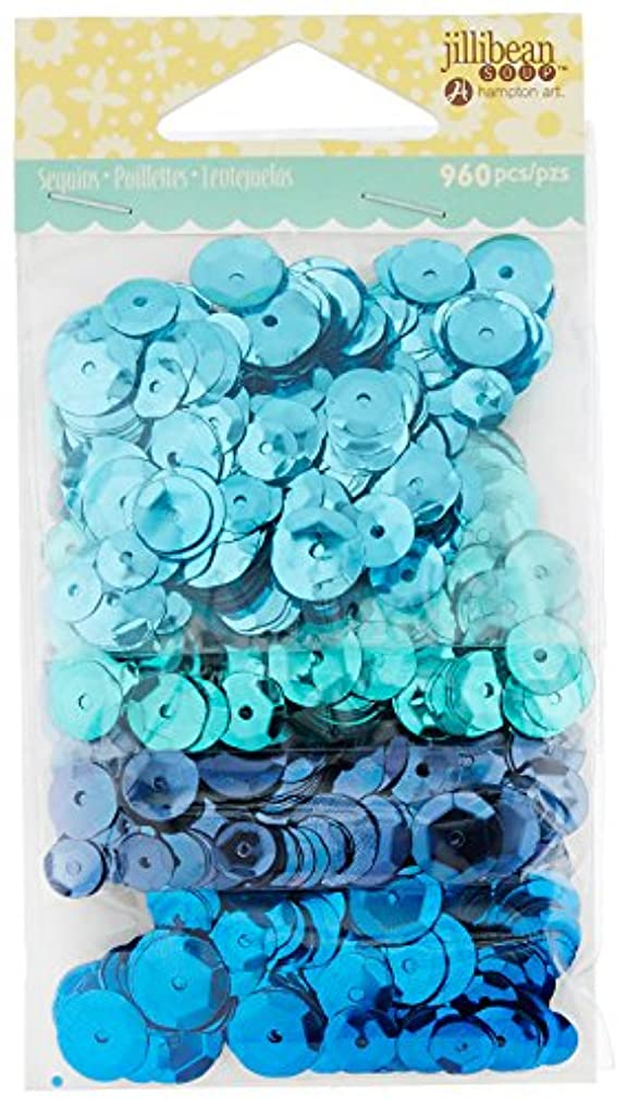Hampton Art JB0818 Jillibean Soup Shaker Card Sequins (960 Pack), Blues, Assorted