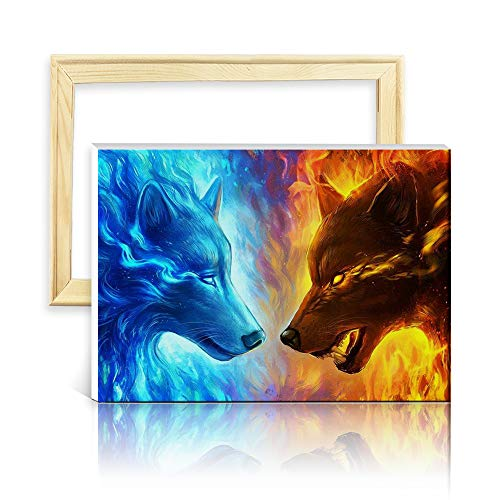 ufengke EIS und Feuer Wolf 5D Diamant Malerei Set Mosaik DIY Diamond Painting nach Zahlen Kreuzstich Stickbilder, mit Holzkeilrahmen, Design 25x35cm