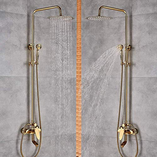 """NMDCDH Shower System Luxury Golden Finish Dual Handle Switch Hot&Cold 8"""" Rain Showerhead Bath and Shower Faucet Set Mixer Tap Wall Mounted"""