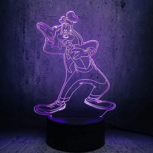 Lámpara de ilusión óptica 3D Ratón de dibujos animados Luz de noche LED Juguete Lámpara de mesa USB de 16 colores que cambia con control remoto o táctil El mejor regalo de cumpleaños de Navida