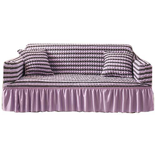 BHAHFL Funda para sofá con falda de seersucker, funda para sofá de encaje con falda de estilo coreano, funda para sofá de 1 2 3 4 asientos, funda para muebles para mascotas y niños,Purple color,Single