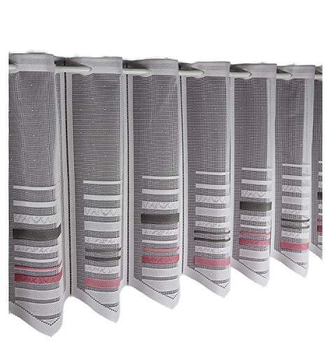 Albani Scheibengardine nach Maß Jacquard- Lamellenpanneau Panneaux Bistrogardine Höhe 45 cm - Breite der Gardine durch Stückzahl in 17 cm Schritten wählbar weiß- rosa- grau