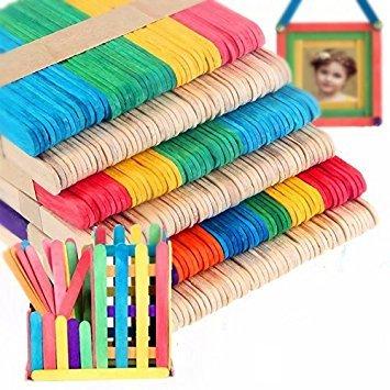 Material: madera 2 colores : Multicolor + Color de la Madera Espesor: aprox. 2mm Tamaño: aprox. 11 x 0,9 cm / 4,3 x 0.35 pulgadas Paquete incluida: 100 piezas x palitos de madera (palillos solamente, otros accesorios no están incluidos)