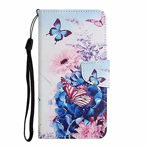 Funda Xiaomi Mi 10 Lite, con tapa de absorción de golpes, piel sintética, funda protectora magnética de poliuretano termoplástico con ranuras para tarjetas para Xiaomi Mi 10 Lite mariposa morada