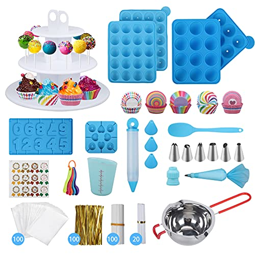 554PCS Cake Pop Maker Kit - Silicone Lollipop Molds Baking Supplies with 3 Tier Display Stand   Chocolate Candy Melting Pot   Bags and Twist Ties   Cakepop Sticks   Decorating Pen