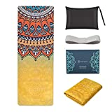 SNΛKUGΛ Travel Yoga Mat Foldable, 1/16 Inch Thin Non Slip Yoga Mat Lightweight, Carrying Bag, Eco...