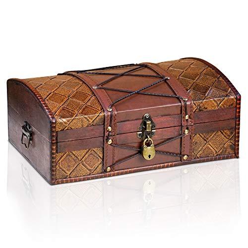 Brynnberg Caja de Madera Jimmy 35x23x14cm - Cofre del Tesoro Pirata de Estilo Vintage - Hecha a Mano - Diseño Retro - joyero - con candado