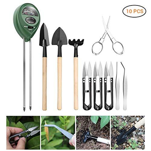 BSTOPSEL Bonsai-Werkzeug-Set, Bonsai-Miniaturschaufel, Schaufel, Pinzette, pH-Bodenmessgerät, für Sukkulenten-Pflanzen, 10 Stück