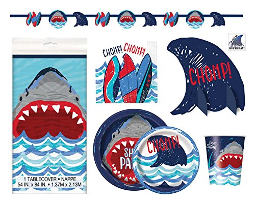 Shark Theme Party Supplies - Plates, Cups, Napkins and Decorations -...